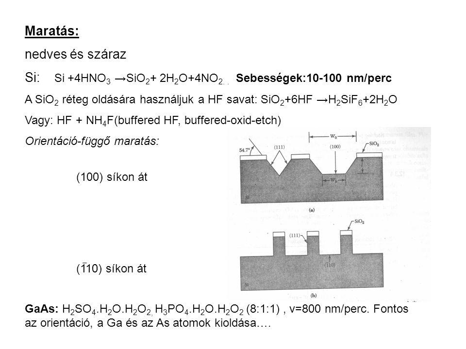 Maratás: nedves és száraz Si: Si +4HNO 3 →SiO 2 + 2H 2 O+4NO 2.. Sebességek:10-100 nm/perc A SiO 2 réteg oldására használjuk a HF savat: SiO 2 +6HF →H