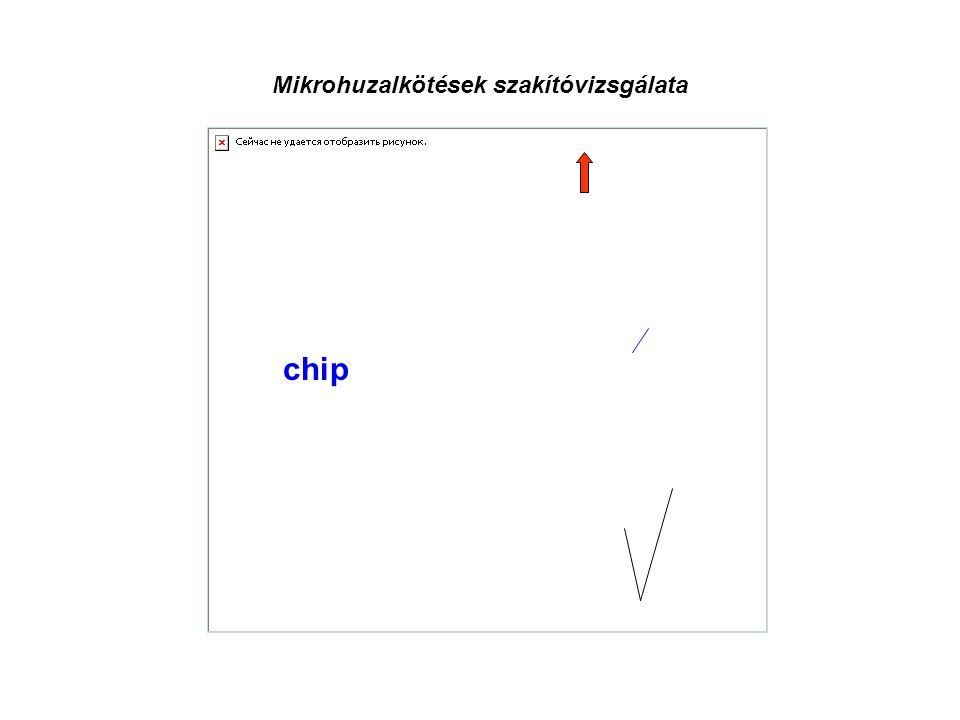 Mikrohuzalkötések szakítóvizsgálata pads chip Au huzal