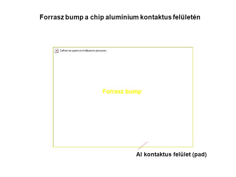 Forrasz bump a chip alumínium kontaktus felületén Al kontaktus felület (pad) Forrasz bump