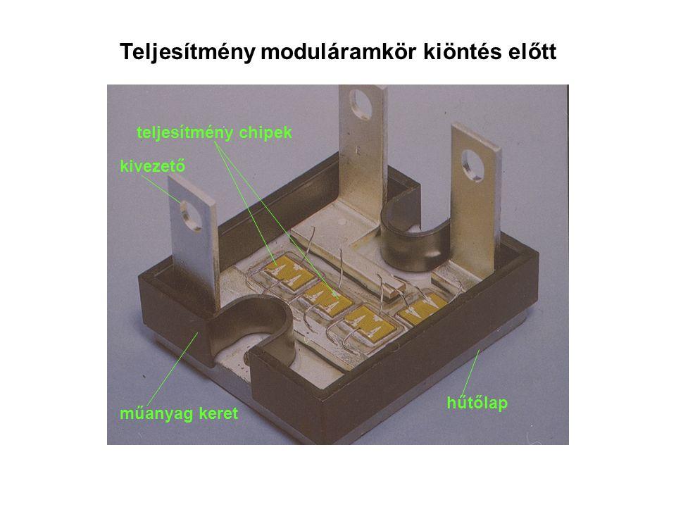 Teljesítmény moduláramkör kiöntés előtt hűtőlap műanyag keret kivezető teljesítmény chipek
