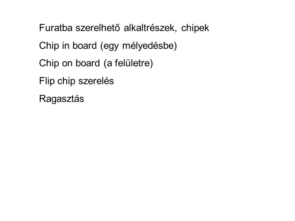 Furatba szerelhető alkaltrészek, chipek Chip in board (egy mélyedésbe) Chip on board (a felületre) Flip chip szerelés Ragasztás