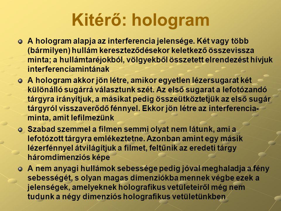 Kitérő: hologram A hologram alapja az interferencia jelensége.