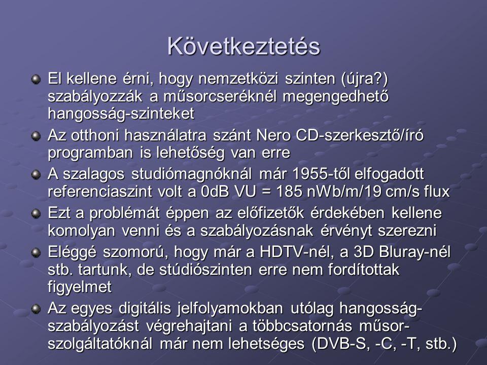 Következtetés El kellene érni, hogy nemzetközi szinten (újra ) szabályozzák a műsorcseréknél megengedhető hangosság-szinteket Az otthoni használatra szánt Nero CD-szerkesztő/író programban is lehetőség van erre A szalagos studiómagnóknál már 1955-től elfogadott referenciaszint volt a 0dB VU = 185 nWb/m/19 cm/s flux Ezt a problémát éppen az előfizetők érdekében kellene komolyan venni és a szabályozásnak érvényt szerezni Eléggé szomorú, hogy már a HDTV-nél, a 3D Bluray-nél stb.