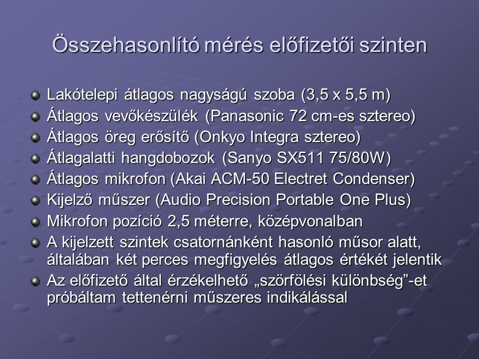 """Összehasonlító mérés előfizetői szinten Lakótelepi átlagos nagyságú szoba (3,5 x 5,5 m) Átlagos vevőkészülék (Panasonic 72 cm-es sztereo) Átlagos öreg erősítő (Onkyo Integra sztereo) Átlagalatti hangdobozok (Sanyo SX511 75/80W) Átlagos mikrofon (Akai ACM-50 Electret Condenser) Kijelző műszer (Audio Precision Portable One Plus) Mikrofon pozíció 2,5 méterre, középvonalban A kijelzett szintek csatornánként hasonló műsor alatt, általában két perces megfigyelés átlagos értékét jelentik Az előfizető által érzékelhető """"szörfölési különbség -et próbáltam tettenérni műszeres indikálással"""