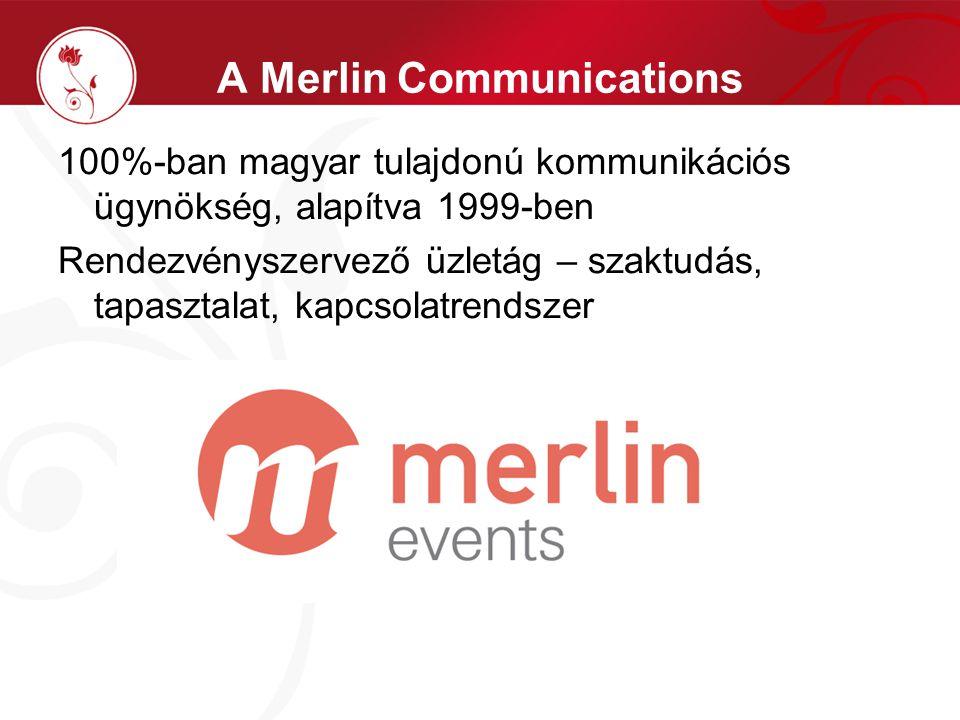A Merlin Communications 100%-ban magyar tulajdonú kommunikációs ügynökség, alapítva 1999-ben Rendezvényszervező üzletág – szaktudás, tapasztalat, kapcsolatrendszer