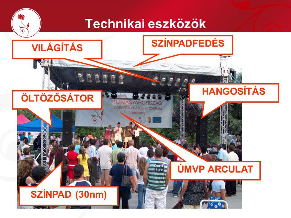 Technikai eszközök SZÍNPAD (30nm) SZÍNPADFEDÉS ÖLTÖZŐSÁTOR HANGOSÍTÁS VILÁGÍTÁS ÚMVP ARCULAT