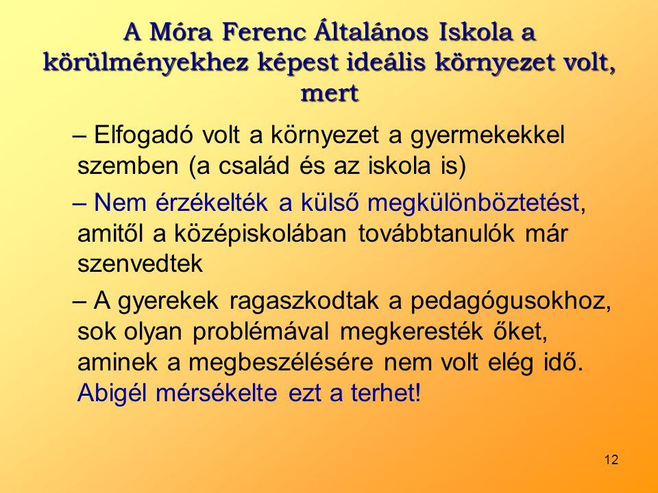 12 A Móra Ferenc Általános Iskola a körülményekhez képest ideális környezet volt, mert – Elfogadó volt a környezet a gyermekekkel szemben (a család és