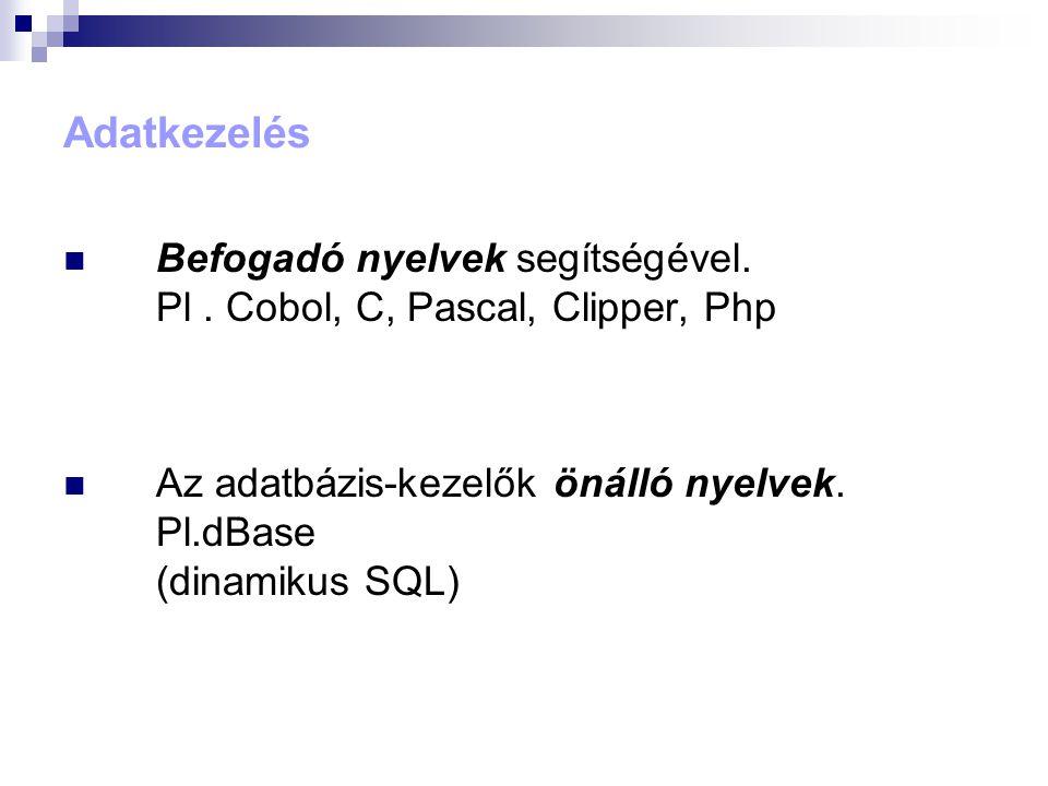 Adatkezelés  Befogadó nyelvek segítségével.Pl.
