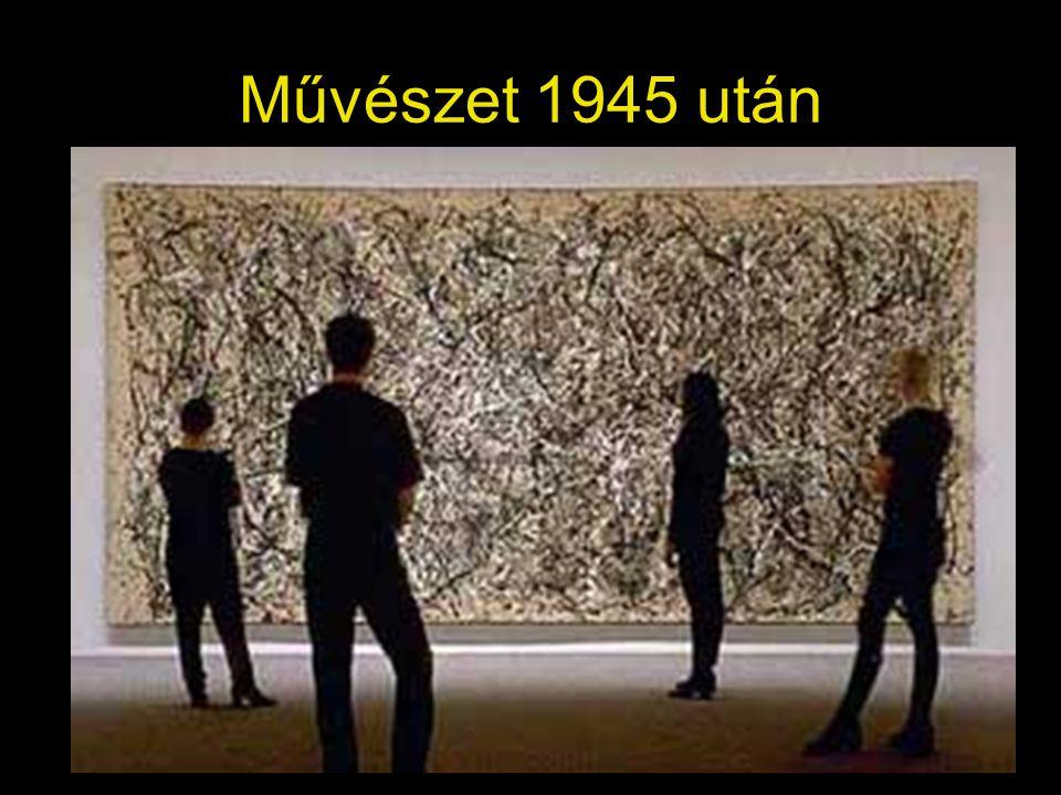 Jean Dubuffet: Metafizikus, 1950, Winnetka •A hivatalos művészeti intézményeket megvető, a társadalmi normák által elfogadott művészeten kívűli alkotásokat gyűjtő Dubuffet saját műveiben szándékosan primitív, nyers, őszinte •Figurái tragikomikus hatásúak •A festéket gipsszel, gittel, homokkal keveri, ebbe karcol bele