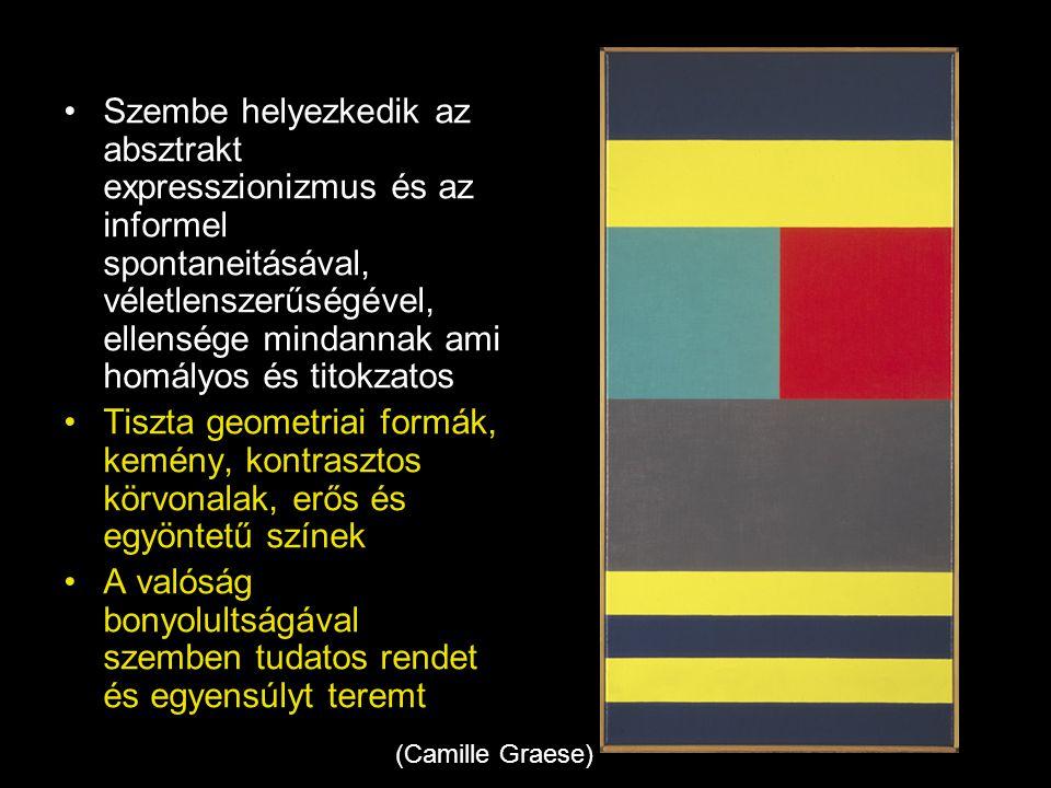 •Szembe helyezkedik az absztrakt expresszionizmus és az informel spontaneitásával, véletlenszerűségével, ellensége mindannak ami homályos és titokzato