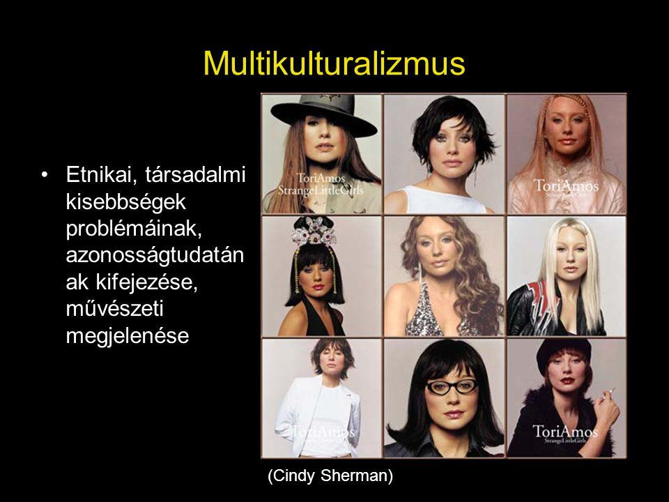 Multikulturalizmus •Etnikai, társadalmi kisebbségek problémáinak, azonosságtudatán ak kifejezése, művészeti megjelenése (Cindy Sherman)