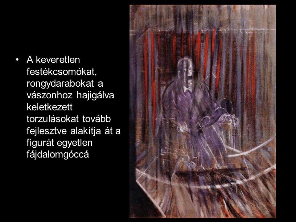 •A keveretlen festékcsomókat, rongydarabokat a vászonhoz hajigálva keletkezett torzulásokat tovább fejlesztve alakítja át a figurát egyetlen fájdalomg
