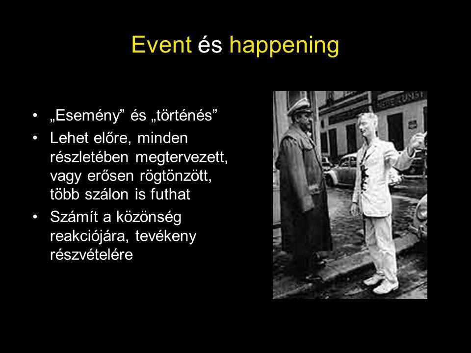 """Event és happening •""""Esemény"""" és """"történés"""" •Lehet előre, minden részletében megtervezett, vagy erősen rögtönzött, több szálon is futhat •Számít a köz"""
