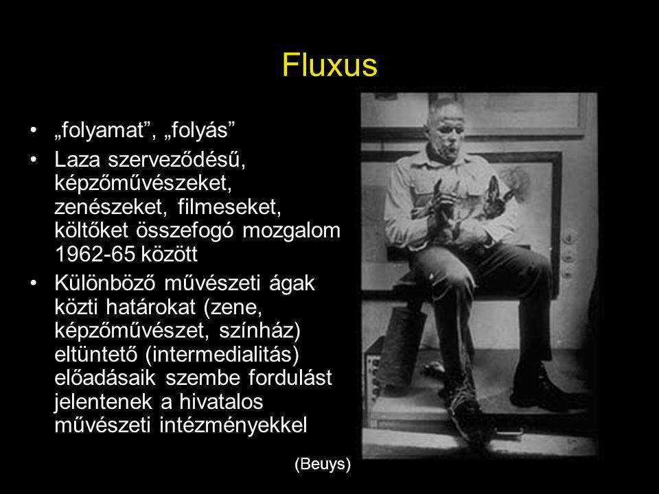 """Fluxus •""""folyamat"""", """"folyás"""" •Laza szerveződésű, képzőművészeket, zenészeket, filmeseket, költőket összefogó mozgalom 1962-65 között •Különböző művész"""