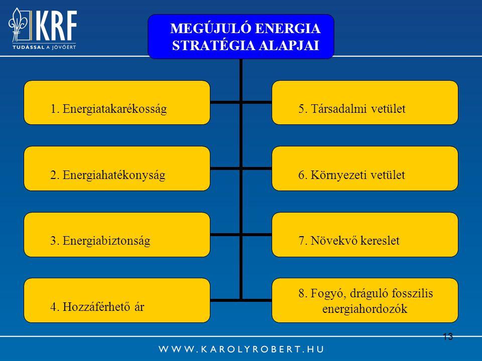 13 MEGÚJULÓ ENERGIA STRATÉGIA ALAPJAI 1. Energiatakarékosság5. Társadalmi vetület 2. Energiahatékonyság6. Környezeti vetület 3. Energiabiztonság7. Növ