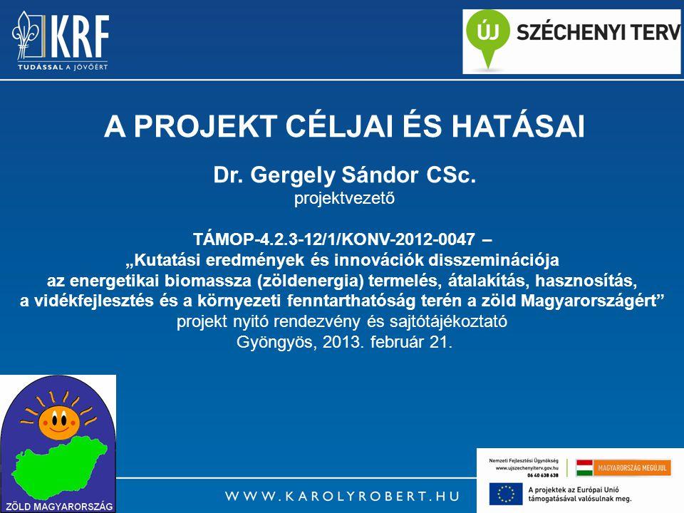 """3 A Projekt címe: """"Kutatási eredmények és innovációk disszeminációja az energetikai biomassza (zöldenergia) termelés, átalakítás, hasznosítás, a vidékfejlesztés és a környezeti fenntarthatóság terén a zöld Magyarországért Azonosító száma: TÁMOP-4.2.3-12/1/KONV-2012-0047"""