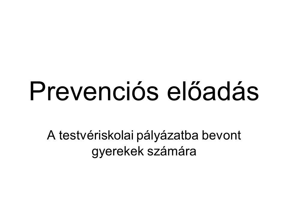 Prevenciós előadás A testvériskolai pályázatba bevont gyerekek számára