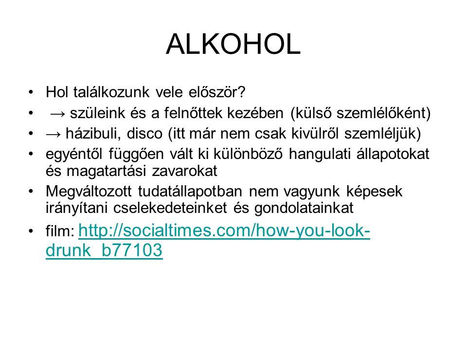 ALKOHOL •Hol találkozunk vele először? • → szüleink és a felnőttek kezében (külső szemlélőként) •→ házibuli, disco (itt már nem csak kivülről szemlélj