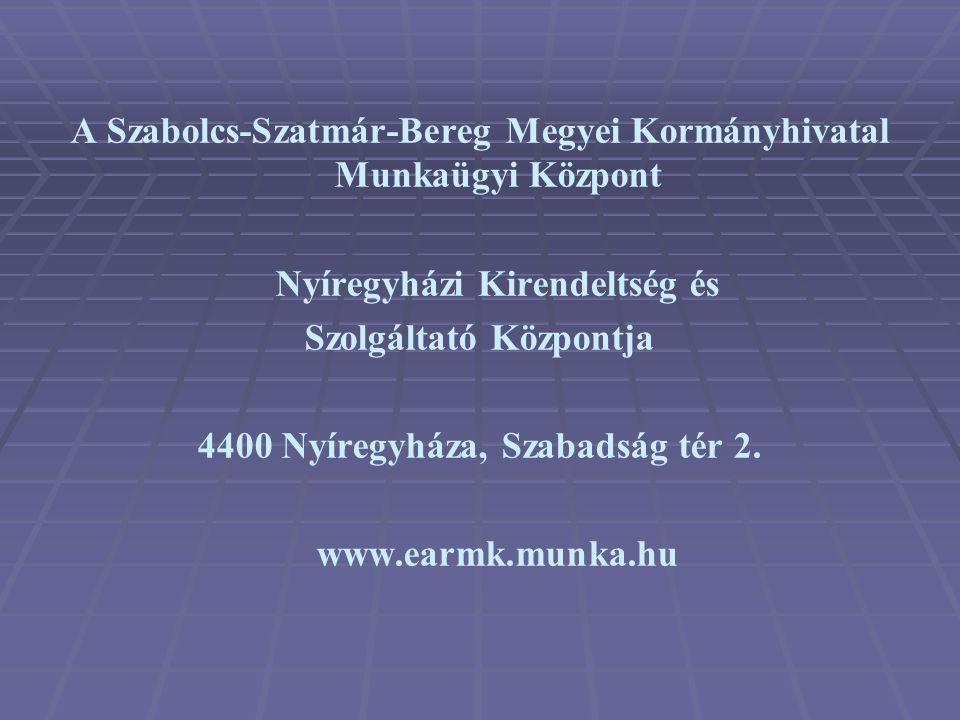 A Szabolcs-Szatmár-Bereg Megyei Kormányhivatal Munkaügyi Központ Nyíregyházi Kirendeltség és Szolgáltató Központja 4400 Nyíregyháza, Szabadság tér 2.