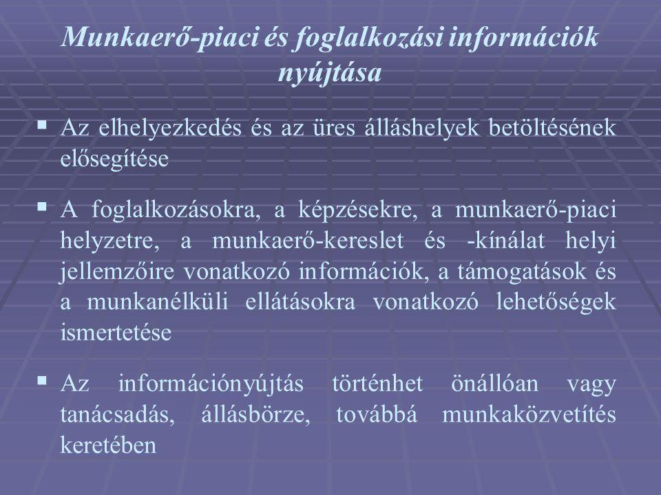Munkaerő-piaci és foglalkozási információk nyújtása  Az elhelyezkedés és az üres álláshelyek betöltésének elősegítése  A foglalkozásokra, a képzések