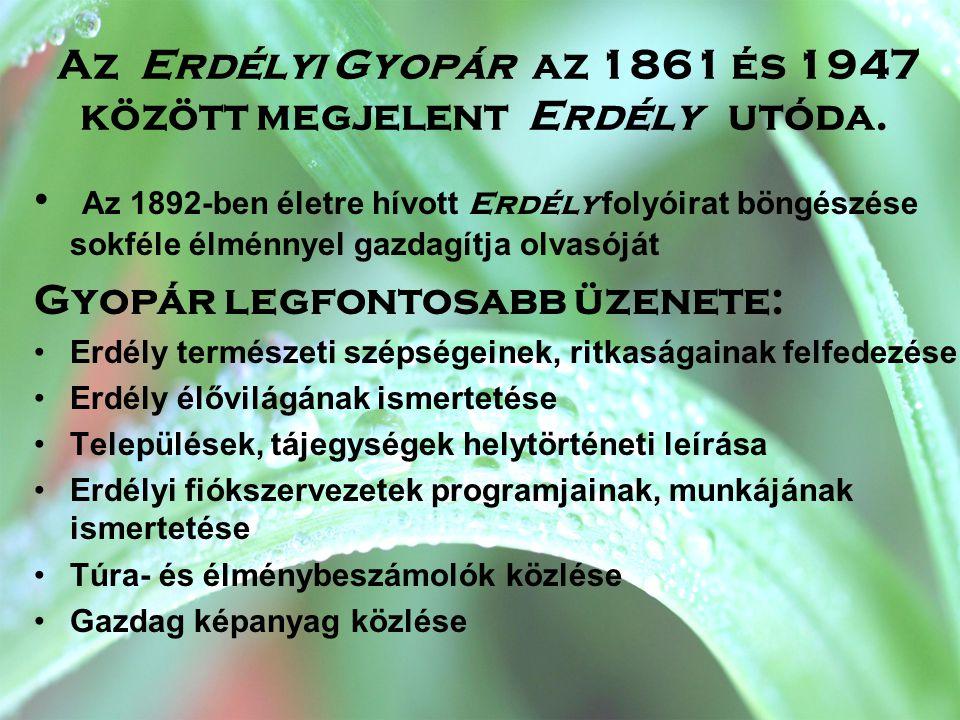 Az Erdélyi Gyopár az 1861 és 1947 között megjelent Erdély utóda. • Az 1892-ben életre hívott Erdély folyóirat böngészése sokféle élménnyel gazdagítja