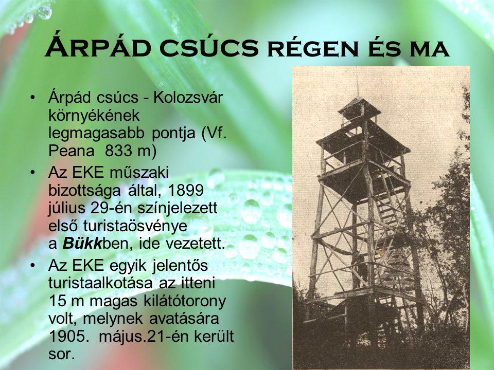 Árpád csúcs régen és ma •Árpád csúcs - Kolozsvár környékének legmagasabb pontja (Vf. Peana 833 m) •Az EKE műszaki bizottsága által, 1899 július 29-én