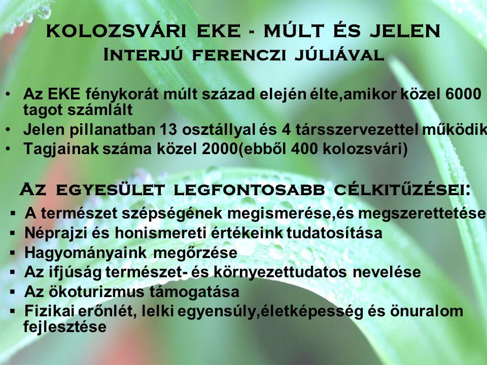 EKE Kolozsvári Osztályának fontos megvalósításai Vándortábor : •1992 óta évente egyszer, augusztus első hetében kerül sor megszervezésére •Vándortábor,mert minden évben Erdély más- más festői vidékét válasszák helyszínül •A tábori résztvevők száma 1200 fő körül mozog •A kolozsvári EKE 2008.július 27-augusztus 1.