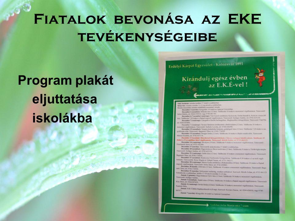 Fiatalok bevonása az EKE tevékenységeibe Program plakát eljuttatása iskolákba
