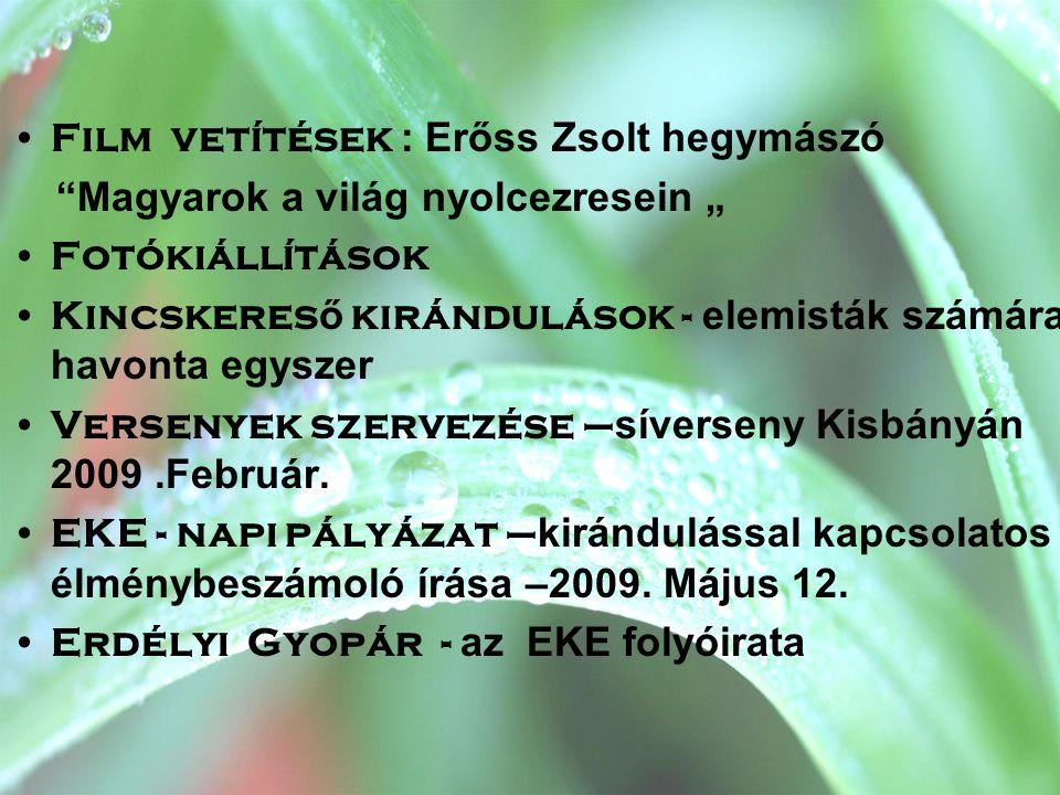 EKE aktuális problémái •Kolozsvár terjeszkedése,kirándulóhelyek eltűnéséhez vezet •Így kerülhetett sor az Árpád csúcs kisajátítására,védett területek elhanyagolására •EKE székhelyének kényszerköltözése