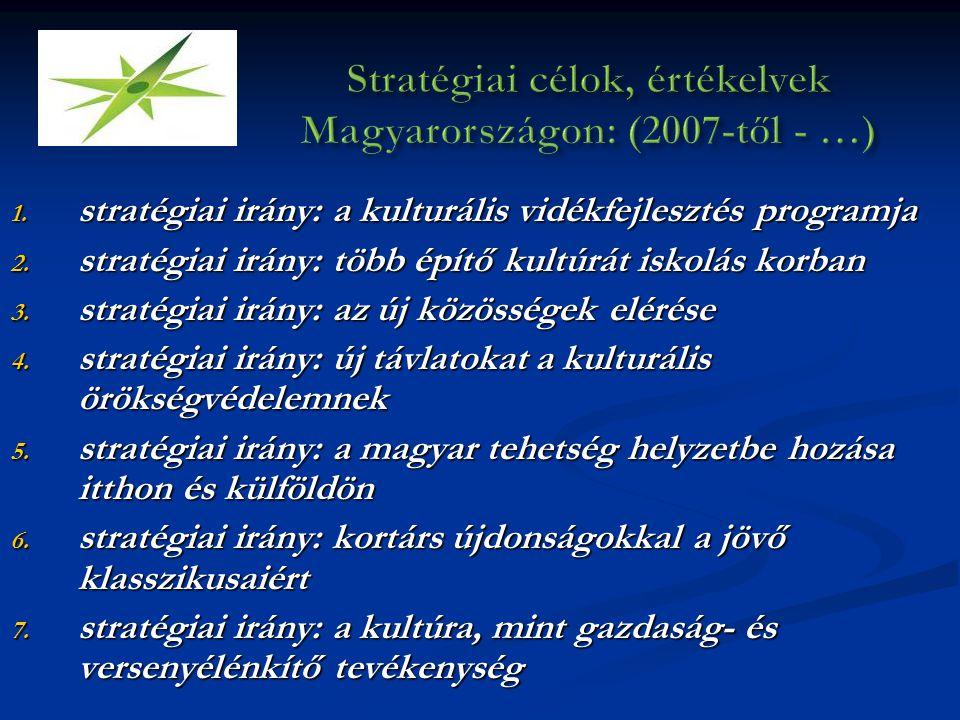 1. stratégiai irány: a kulturális vidékfejlesztés programja 2. stratégiai irány: több építő kultúrát iskolás korban 3. stratégiai irány: az új közössé