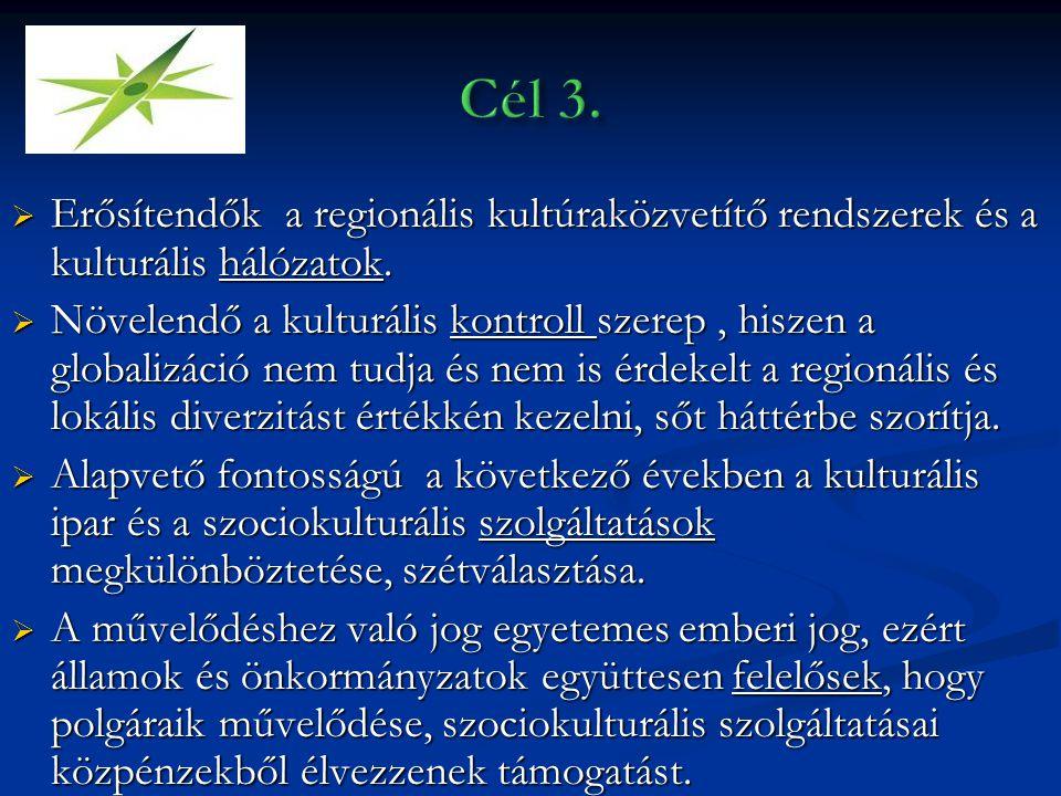  Erősítendők a regionális kultúraközvetítő rendszerek és a kulturális hálózatok.