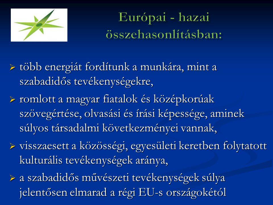  több energiát fordítunk a munkára, mint a szabadidős tevékenységekre,  romlott a magyar fiatalok és középkorúak szövegértése, olvasási és írási képessége, aminek súlyos társadalmi következményei vannak,  visszaesett a közösségi, egyesületi keretben folytatott kulturális tevékenységek aránya,  a szabadidős művészeti tevékenységek súlya jelentősen elmarad a régi EU-s országokétól