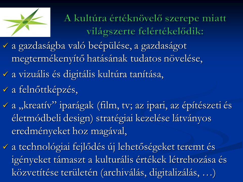 """ a gazdaságba való beépülése, a gazdaságot megtermékenyítő hatásának tudatos növelése,  a vizuális és digitális kultúra tanítása,  a felnőttképzés,  a """"kreatív iparágak (film, tv; az ipari, az építészeti és életmódbeli design) stratégiai kezelése látványos eredményeket hoz magával,  a technológiai fejlődés új lehetőségeket teremt és igényeket támaszt a kulturális értékek létrehozása és közvetítése területén (archiválás, digitalizálás, …)"""