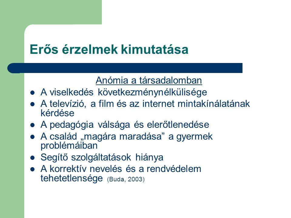 Erős érzelmek kimutatása Anómia a társadalomban  A viselkedés következménynélkülisége  A televízió, a film és az internet mintakínálatának kérdése 