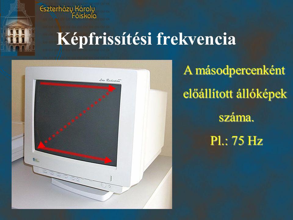 Képfrissítési frekvencia A másodpercenként előállított állóképek száma. Pl.: 75 Hz