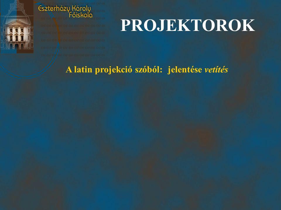 PROJEKTOROK A latin projekció szóból: jelentése vetítés