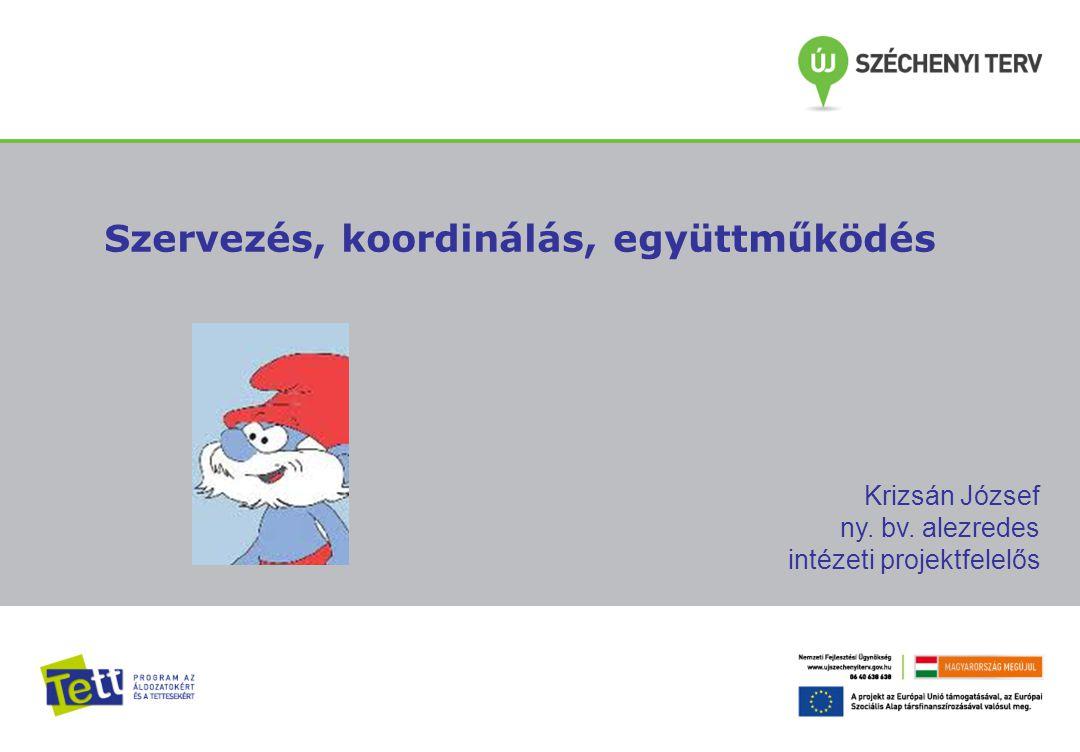 Szervezés, koordinálás, együttműködés Krizsán József ny. bv. alezredes intézeti projektfelelős