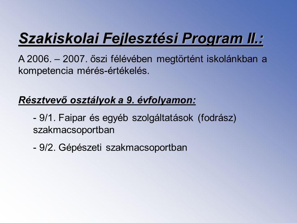 Szakiskolai Fejlesztési Program II.: A 2006. – 2007. őszi félévében megtörtént iskolánkban a kompetencia mérés-értékelés. Résztvevő osztályok a 9. évf