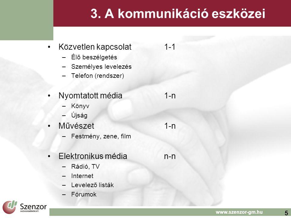 5 www.szenzor-gm.hu 3. A kommunikáció eszközei •Közvetlen kapcsolat 1-1 –Élő beszélgetés –Személyes levelezés –Telefon (rendszer) •Nyomtatott média1-n