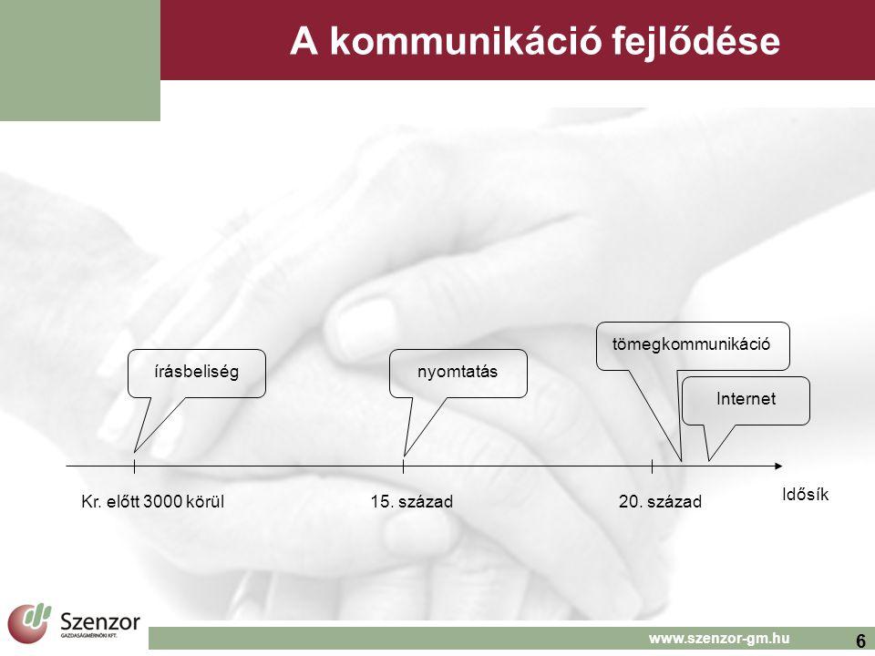 6 www.szenzor-gm.hu A kommunikáció fejlődése Idősík írásbeliségnyomtatás tömegkommunikáció Kr.