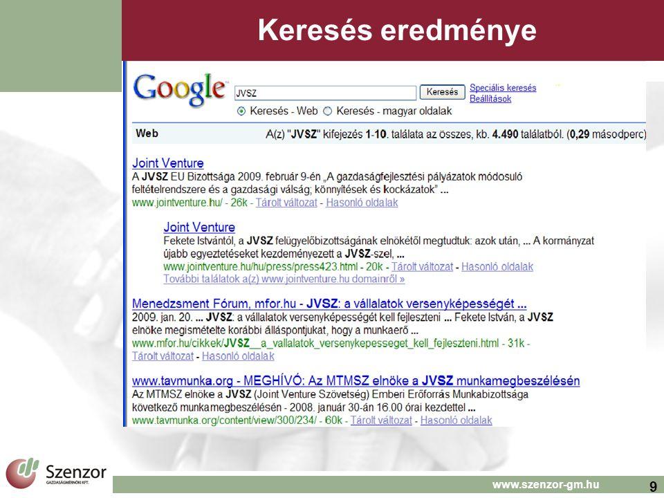 9 www.szenzor-gm.hu Keresés eredménye