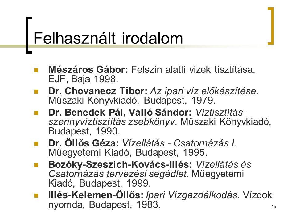 16 Felhasznált irodalom  Mészáros Gábor: Felszín alatti vizek tisztítása.