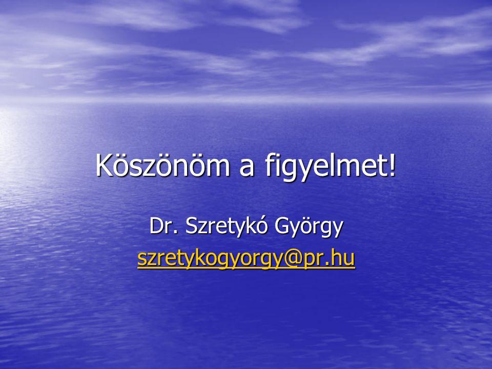 Köszönöm a figyelmet! Dr. Szretykó György szretykogyorgy@pr.hu