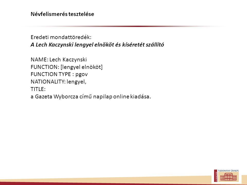 Eredeti mondattöredék: A Lech Kaczynski lengyel elnököt és kíséretét szállító NAME: Lech Kaczynski FUNCTION: [lengyel elnököt] FUNCTION TYPE : pgov NATIONALITY: lengyel, TITLE: a Gazeta Wyborcza című napilap online kiadása.
