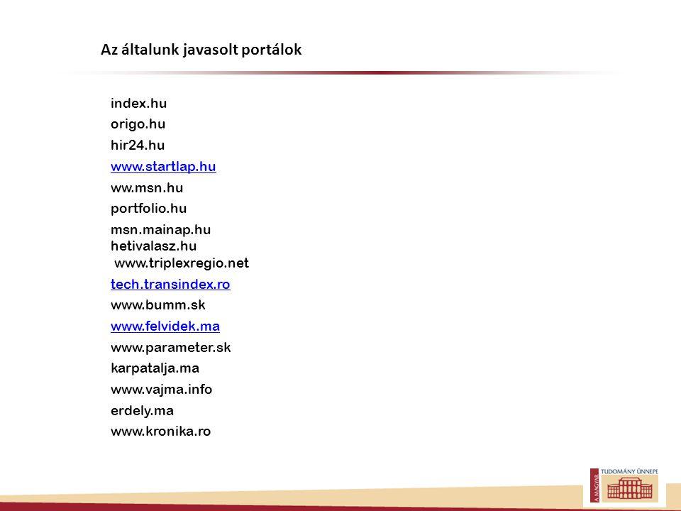 index.hu origo.hu hir24.hu www.startlap.hu ww.msn.hu portfolio.hu msn.mainap.hu hetivalasz.hu www.triplexregio.net tech.transindex.ro www.bumm.sk www.felvidek.ma www.parameter.sk karpatalja.ma www.vajma.info erdely.ma www.kronika.ro Az általunk javasolt portálok