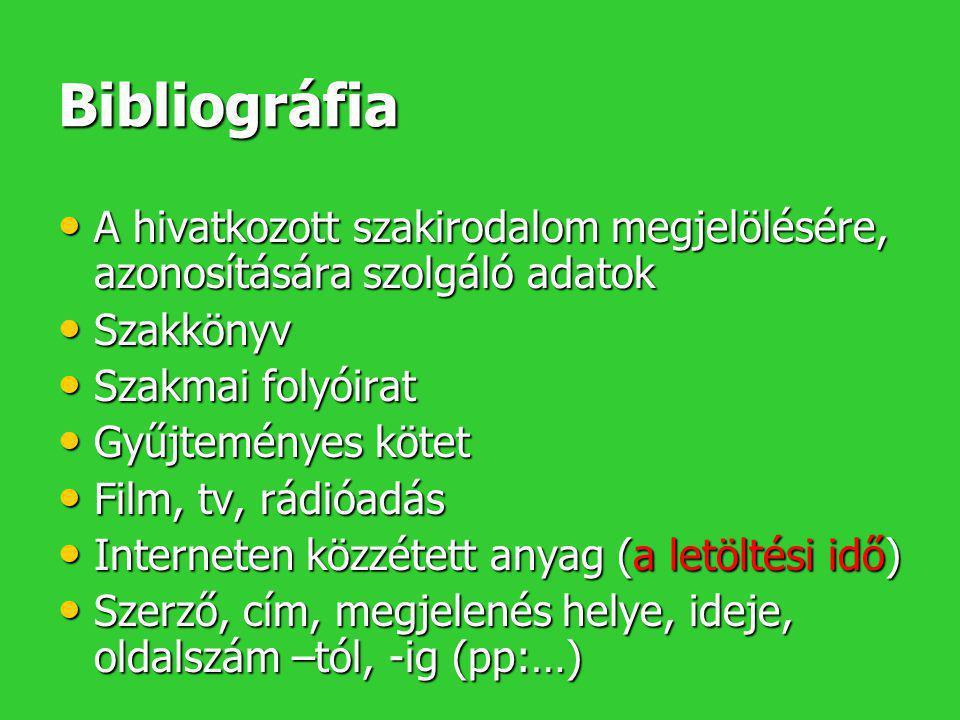 Bibliográfia • A hivatkozott szakirodalom megjelölésére, azonosítására szolgáló adatok • Szakkönyv • Szakmai folyóirat • Gyűjteményes kötet • Film, tv