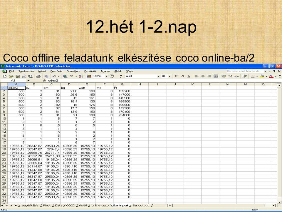 12.hét 1-5.nap Coco offline feladatunk elkészítése coco online-ba./1