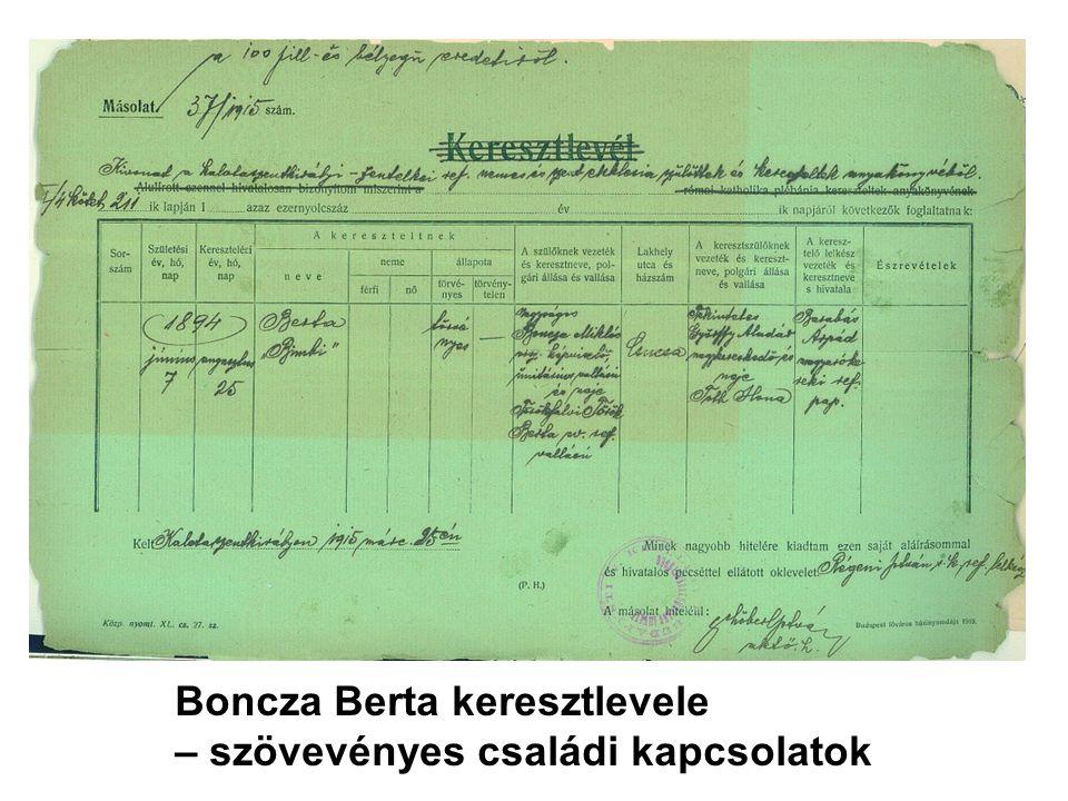 Boncza Berta keresztlevele – szövevényes családi kapcsolatok