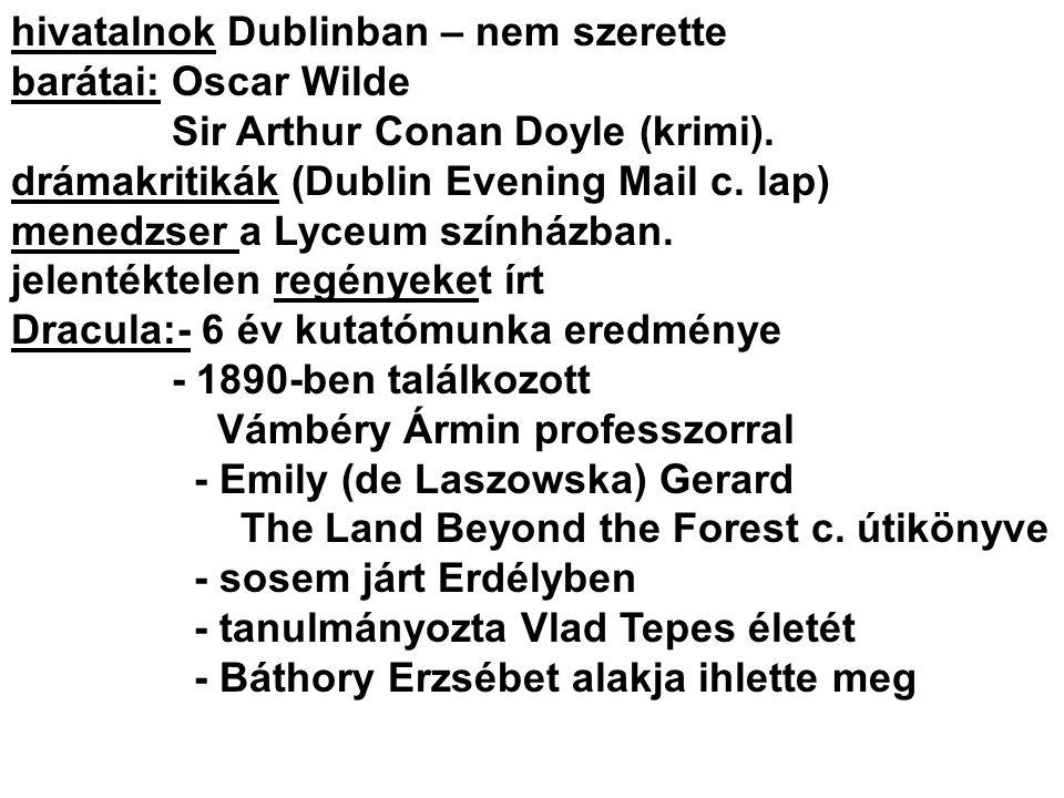 hivatalnok Dublinban – nem szerette barátai: Oscar Wilde Sir Arthur Conan Doyle (krimi). drámakritikák (Dublin Evening Mail c. lap) menedzser a Lyceum