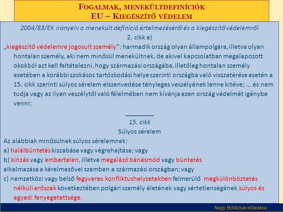 Nagy Boldizsár előadása F OGALMAK, MENEKÜLTDEFINÍCIÓK EU – K IEGÉSZÍTŐ VÉDELEM 2004/83/EK irányelv a menekült definíció értelmezéséről és a kiegészítő